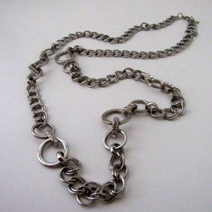 Jewelry - Silver Chain and Rhinestone Link Necklace